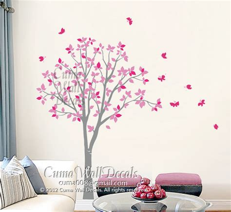 vinyl wall decals pink tree owl and butterfly nature tree by cuma