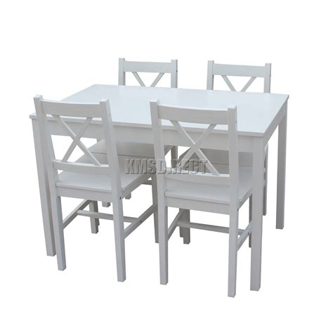 wooden dining table with white chairs foxhunter solid wooden dining table with 4 chairs set
