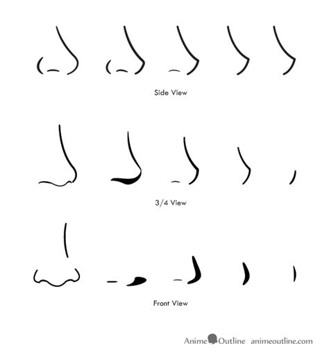 how to draw noses how to draw anime and noses anime outline