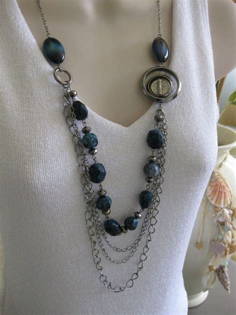 beaded chain for jewelry blue jean necklace beaded necklae multistrand chains
