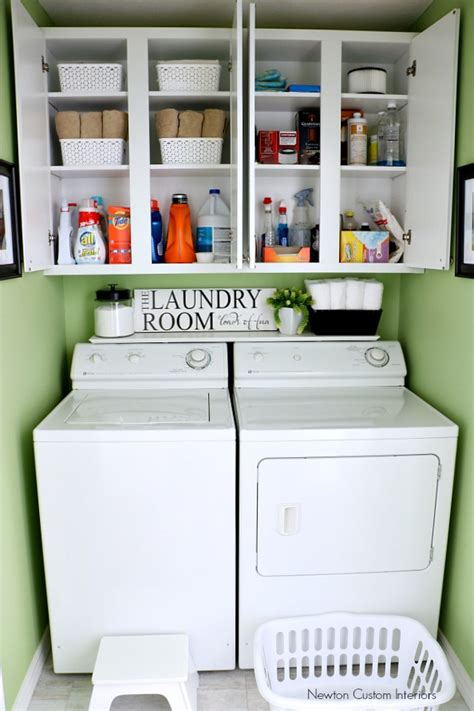 laundry room storage shelves organizing a small laundry room newton custom interiors