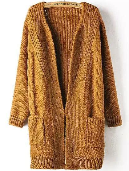 knit sweater coat khaki sleeve pockets cable knit sweater coat shein