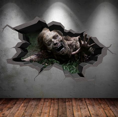 Zombie Wall Mural zombie walking apocolypse cracked 3d wall sticker mural decal