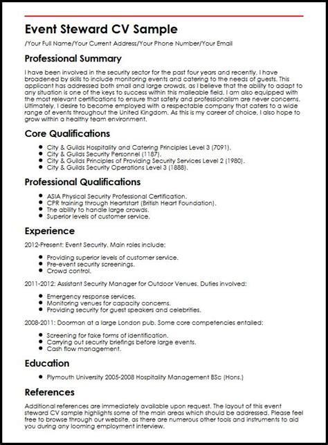 professional executive resume samples event steward cv sample myperfectcv