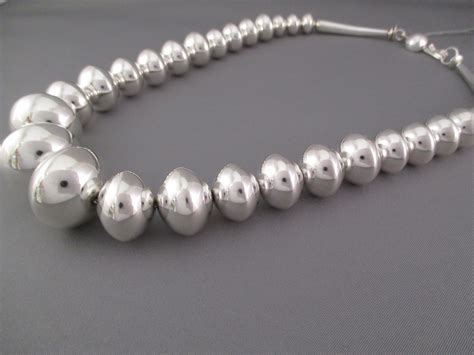 graduated silver bead necklace graduated sterling silver bead necklace yellowhorse jewelry