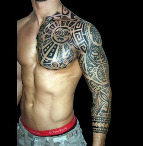 maori tribal pattern full sleeve tattoo