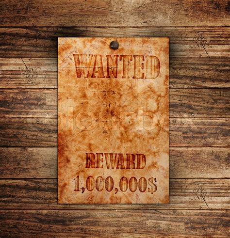 Vintage Wanted Poster On A Wooden Wall Stock Photo