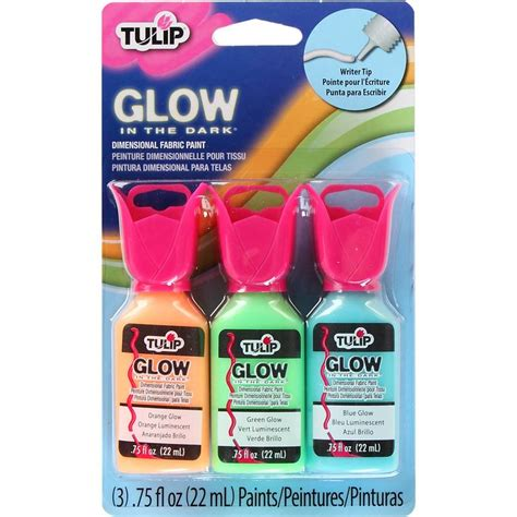 glow in the fabric paint uk tulip 3d glow black light 3 fabric paint set