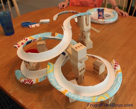 paper crafts for boys paper plate marble track frugal for boys and
