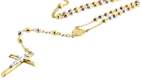 rosary chain for jewelry 10k gold tri color rosary cut bead 4mm
