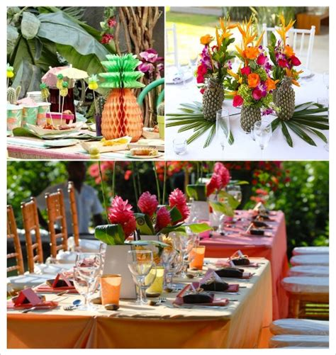 centre table decorations decoration mariage tropical