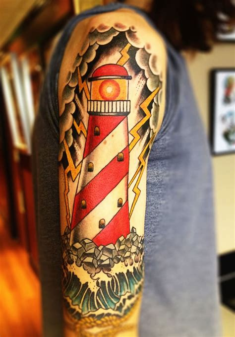 23 half sleeve lighthouse tattoos ideas