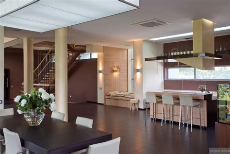 modern kitchen and dining room design modern kitchen dining open plan with pillars and breakfast