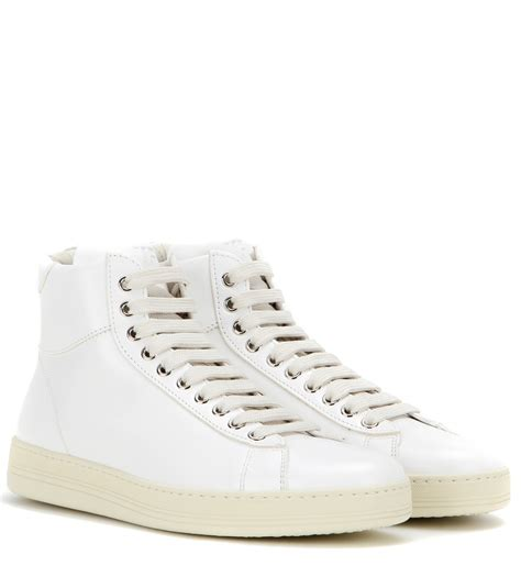 leather high top shoes for tom ford leather high top sneakers in white lyst