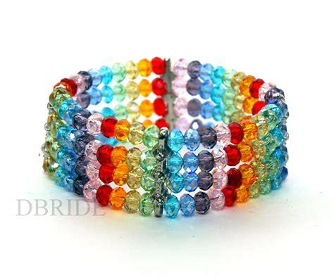 rainbow bead bracelet rainbow beaded bracelet multi strand bracelet colorful