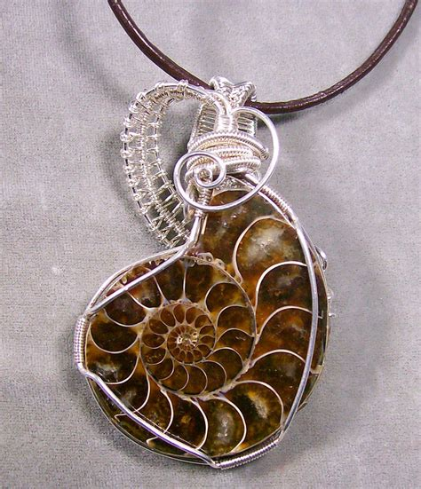 silver wire for jewelry opalized ammonite fossil and silver wire wrapped