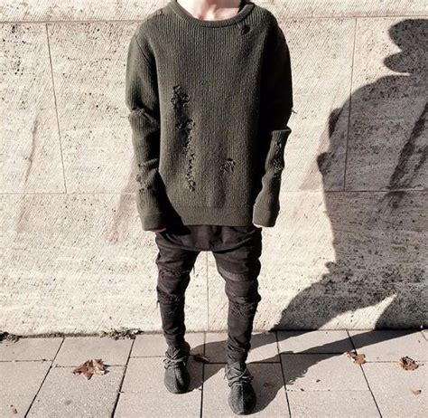 mens oversized knitted jumper boys oversized sweater heavy knit distressed
