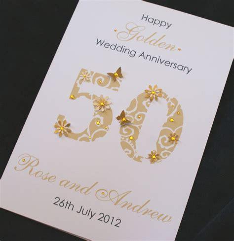 golden wedding cards to make large handmade personalised 50th golden wedding