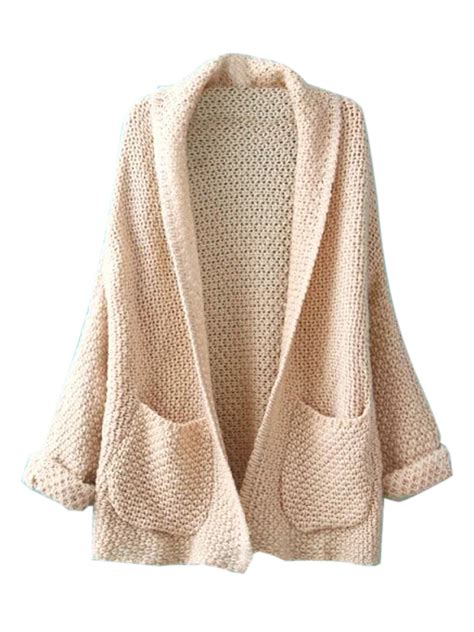 Beige Lapel Pocket Detail Open Front Sleeve Knit