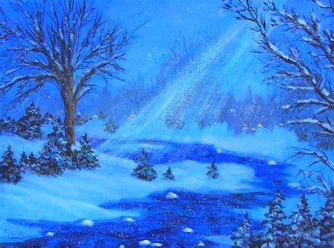 acrylic painting moonlight 9x12 original acrylic painting moonlight snow by patadamsart