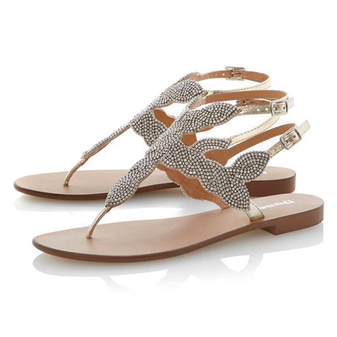 leather beaded sandals dune karper leather beaded toe post sandals in metallic lyst