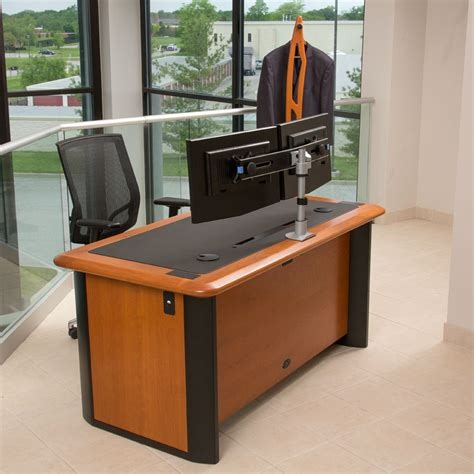 computer desk for two monitors switch dual monitor arm caretta workspace