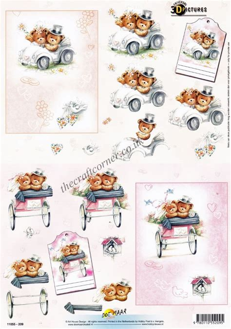 3d decoupage pictures wedding day teddy bears 3d decoupage craft sheet