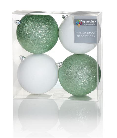 green baubles decorations 12 large green white tree baubles