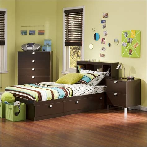 childrens bed with bookcase headboard south shore cakao 3 bedroom set with bookcase headboard in chocolate 3259080 3pkg