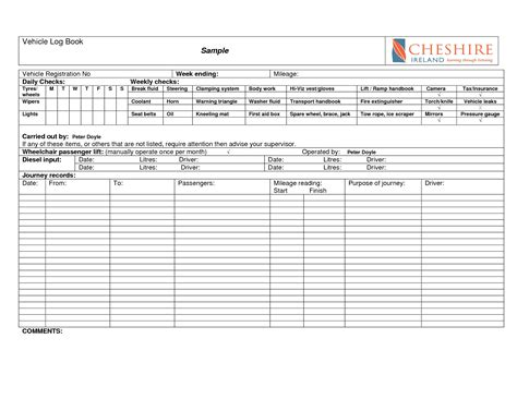 28 motor vehicle log book template vehicle mileage log