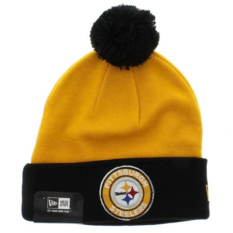 steelers knit beanie pittsburgh steelers the circle knit beanie with pom new
