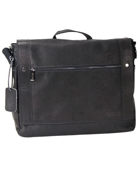 kenneth cole leather bag kenneth cole reaction leather messenger bag in black for lyst