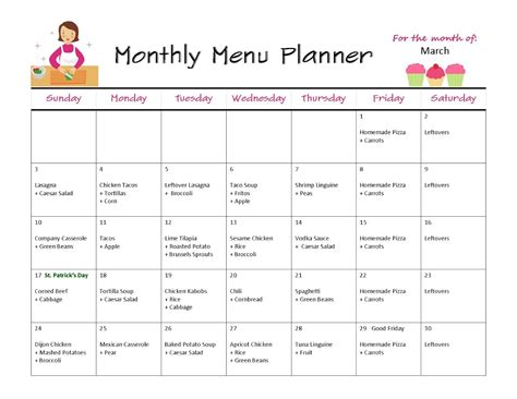monthly menu template out of darkness