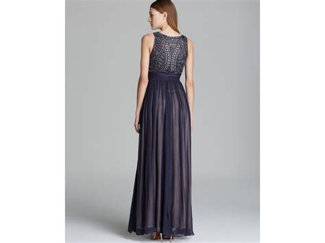 js collections beaded gown js collections beaded bodice chiffon gown in gray lyst