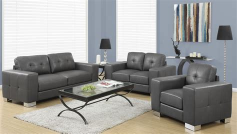 grey living room set 8223gy charcoal gray bonded leather living room set