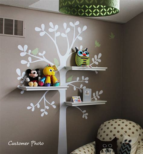 baby nursery tree wall decals wall decals baby nursery decor shelving tree by simpleshapes