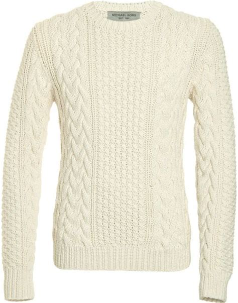 mens white cable knit sweater cable knit sweater in white for lyst models picture