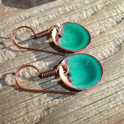 how to make copper enamel jewelry handmade enameled copper earrings enamel jewelry