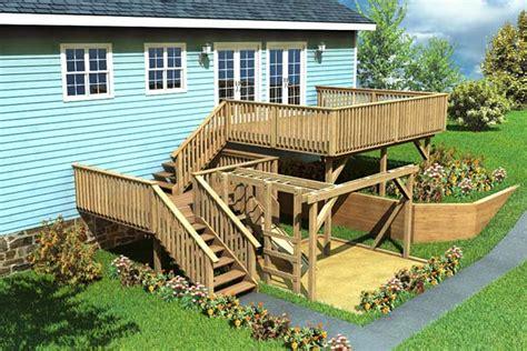 Tri Level Home Plans Designs project plan 90007 split level deck amp play area