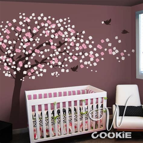 nursery decals for walls cherry blossom tree with birds nursery wall decal
