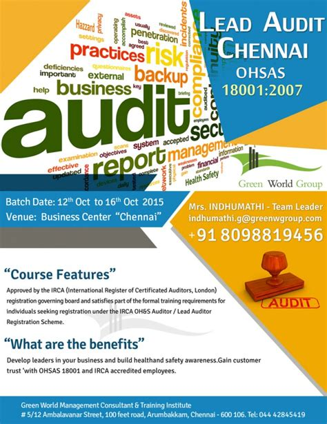 course in india irca approved ohsas 18001 2007 lead auditor course in