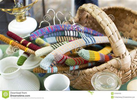 knitting market knit hangers in flea market stock photos image 31639193