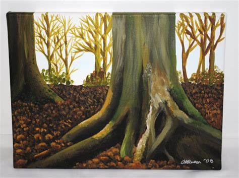 acrylic paint trees woodland original acrylic painting trees and leaves 30x40cm