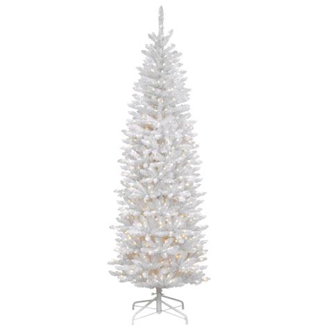 pencil artificial tree with clear lights national tree company 7 ft kingswood white fir hinged