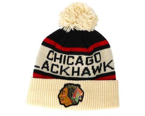 knit 1 chicago chicago blackhawks cuffed knit black pom