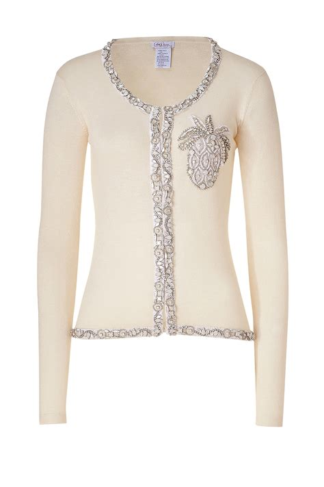beaded cardigan collette dinnigan ivory pineapple beaded cardigan in white
