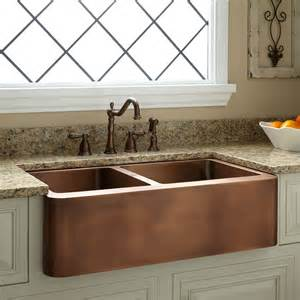 kitchens with copper sinks 33 quot aberdeen 60 40 offset bowl copper farmhouse