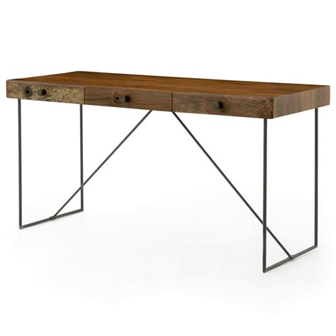 modern rustic desk hugh rustic modern reclaimed wood iron desk kathy kuo home