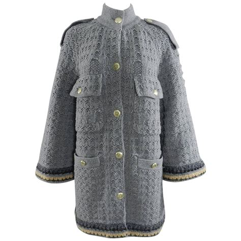 knit sweater coat chanel grey chunky knit sweater coat at 1stdibs
