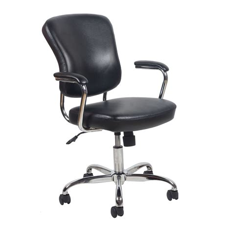Black Leather Desk Chair by Swivel Leather Office Chair With Padded Arms Black Chrome
